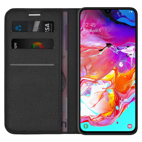 Leather Wallet Case & Card Holder Pouch for Samsung Galaxy A70 - Black